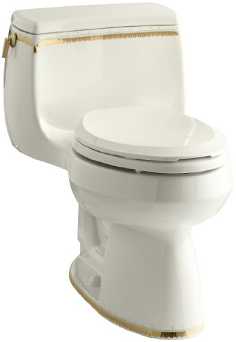 KOHLER K-14345-WF-96 Prairie Flowers Design on Gabrielle Comfort Height One-Piece Elongated Toilet, Biscuit