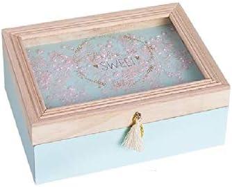 Dream Hogar Caja Decorativa Tapa Cristal Juliette Madera 18x13x6cm (Azul): Amazon.es: Hogar