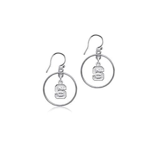 (NC State University Wolfpack NCSU Sterling Silver Jewelry by Dayna Designs (Open Drop Earrings))