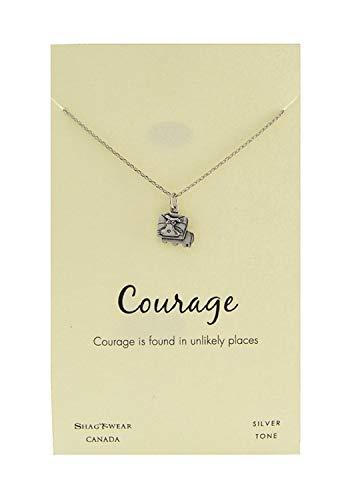 (Shag Wear Favourite Animals Inspirations Quote Pendant Necklace (Courage, Lion Pendant))