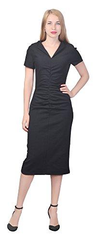 Marycrafts Women's Casual Work Office Sheath Midi Dresses V Neck 16 Black