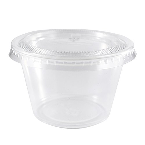 Plastic Souffle Portion Cup - EDI Clear Plastic Disposable Portion Cups/Souffle Cup with Lids (100, 4 OZ)