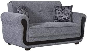 BEYAN Surf Avenue Collection Upholstered Convertible Storage Love Seat