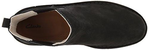 Clarks Women's Desert Peak. Chelsea Boot, Black Beeswax Black Leather