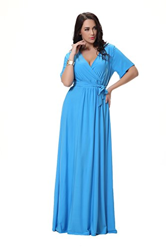 JOTHIN Damen Kurzarm Einfarbige Plus Size Elegant Party Kleid ...