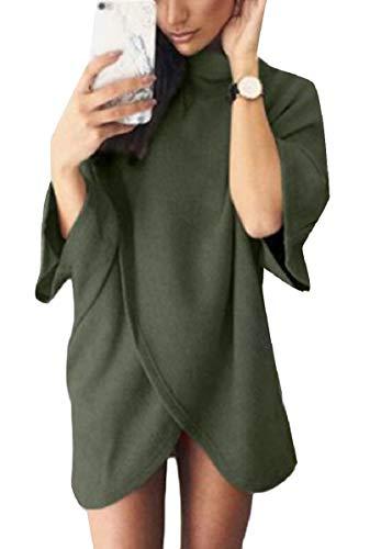 Zhaoabao-au Cou Des Femmes Cowl Couleur Pure Irrégulière Confortable Mode Robe Courte 2