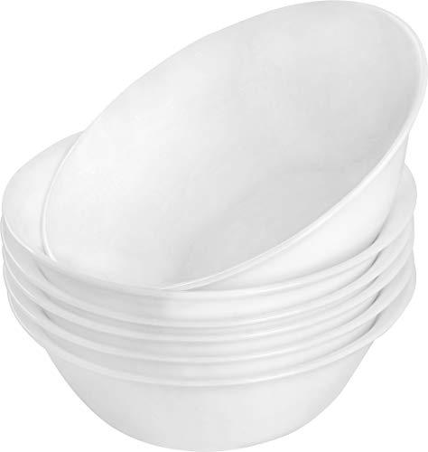 6 Piece White Soup/Salad/Cereal/Desserts Bowl Set- Dishwasher Safe Opal Glassware