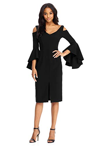 Maggy London Women's Cold Shoulder Sheath Dress with Ruffle Sleeve, Black 4