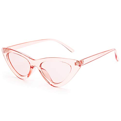 Livhò Retro Vintage Narrow Cat Eye Sunglasses for Women Clout Goggles Plastic Frame (Clear red/red)
