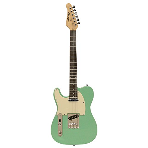 Sawtooth ST-ET-LH-SGRW Left Handed Electric Guitar, Surf Green with Aged White Pickguard by Sawtooth