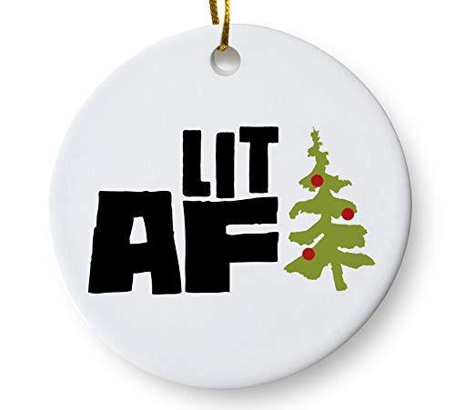 Lit AF Funny Christmas Tree Ornament, 3