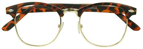 Sunglass Stop - Round Half Frame Horned Rim Clear Uv400 Lens Clubmaster Eye Glasses (Tortoise Shell , Clear - Half Glasses Rim Shell Tortoise