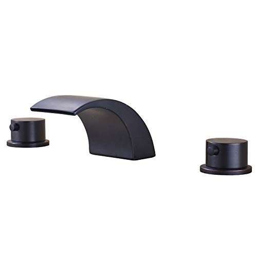 Senlesen Deck Mount Double Handles 3 Holes Waterfall LED Light Widespread Bathroom Sink Faucet Oil Rubbed Bronze ()