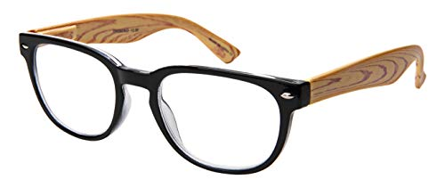 Edge I-Wear Vintage Horn Rimmed Reading Glasses Men Wood Pattern Spring Hinge Readers for Women 3.00 39408SWD-3.00-1(BLK)