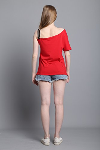 Minetom Mujeres Camiseta Modelo de Mariposa Chic Atractivas del Verano del Hombro de Manga Corta Ocasional T-Shirt Blusa Tops Rojo