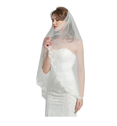 "Wedding Bridal Veil with Comb 1 Tier Lace Applique Edge Fingertip Length 41"" V84 Ivory"