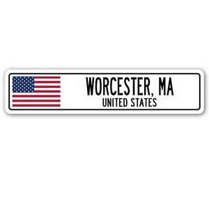 Sign City Worcester (3 Pack: WORCESTER, MA, UNITED STATES Street Sign Sticker 3