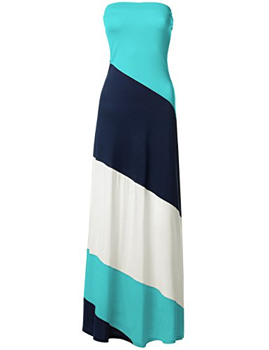 Striped Strapless Diagonal Color Block Maxi Dresses, 045-Mint White, Small