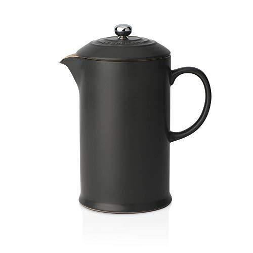 Le Creuset Dishwasher Safe Grill - Le Creuset Stoneware Cafetiere with Metal Press, 750 ml-Satin Black, Ceramic, 17 x 11 x 22 cm