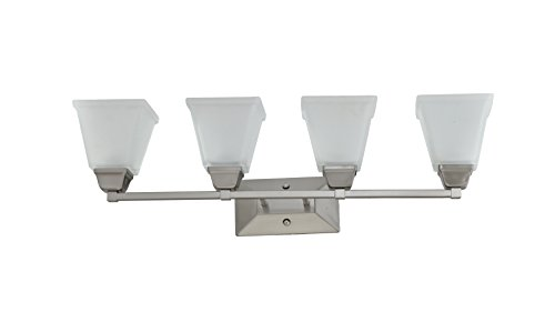 IN HOME 4-Light Bath Bar Light Up or Down, Interior Bathroom Vanity Wall Lighting Fixture VF37, 4x60 Watt E26 Socket, Brushed Nickel Finish with Square Etched Glass Shade, UL Listed