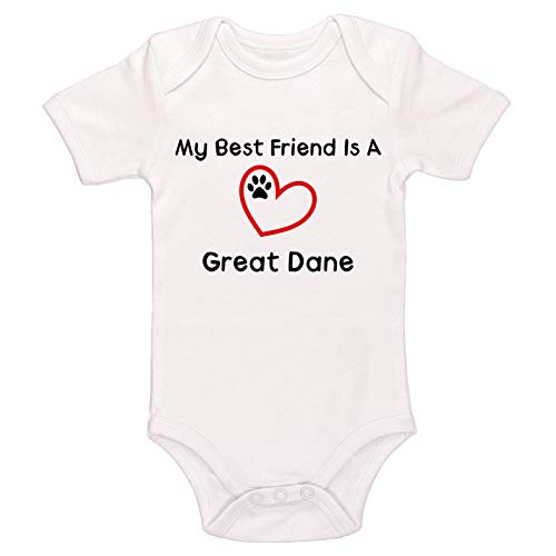 Kinacle My Best Friend is A Great Dane Baby Bodysuit (3-6 Months, White) (Best Great Dane Mixes)