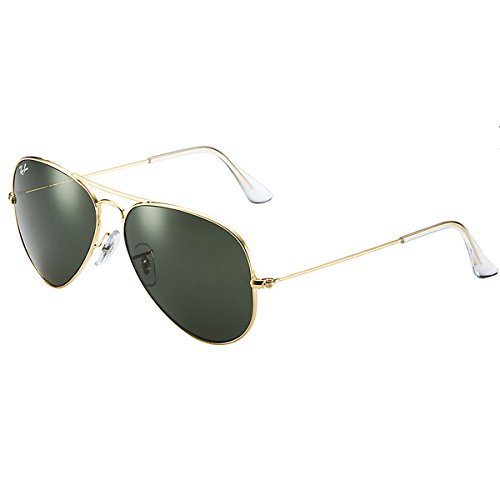 Ray-Ban Men's Aviator 3025 Sunglasses Gold Frame/Green G-15xlt Lens- 55mm ()