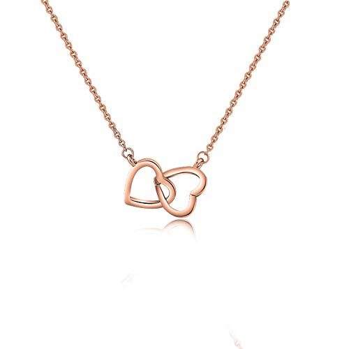 - KUIYAI Double Interlocked Heart Necklace Y Lariat Necklace Convertible Style Jewelry (Rose Gold)