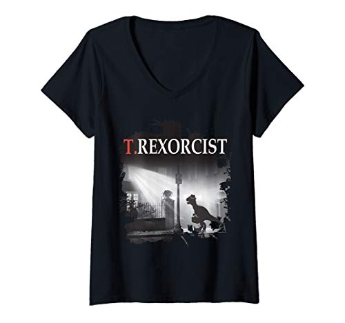 Womens Tyrannosaurus Rex Tee Shirt - T.rexorcist Dinosaur Parody V-Neck T-Shirt -