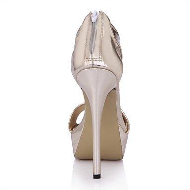 LvYuan Mujer-Tacón Stiletto-Confort-Sandalias-Boda Vestido Fiesta y Noche-PU-Negro Oro Gold