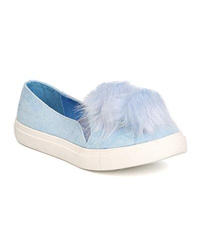 Women Pom Pom Slip On Sneaker – Casual, Trendy, Everyday – Furry Flat – GD24 By Liliana – Baby Blue (Size: 9.0)