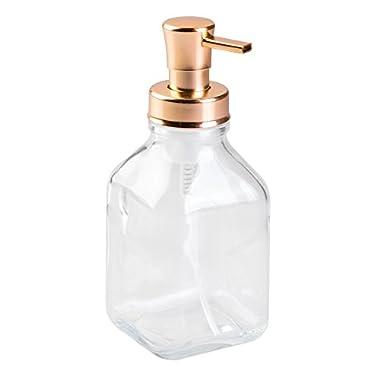 InterDesign Cora Glass Foaming Soap Dispenser Pump for Kitchen or Bathroom Sinks, Clear/Copper