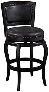 Amazon Com Boraam Ind Harris Collection Black Brown Wood Dining And Kitchen Swivel Barstool With Back Black N A Furniture Decor