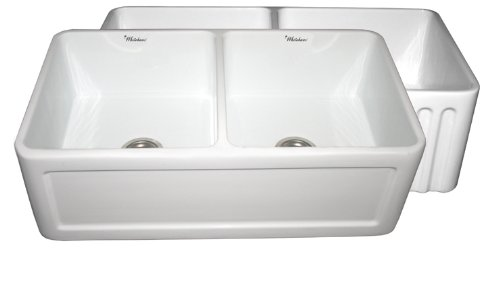 Fireclay Undermount Whitehaus Sink - Whitehaus WHFLCON3318-WH Farmhaus 33-Inch Reversible Series Double Bowl Fireclay Apron Front Sink, White