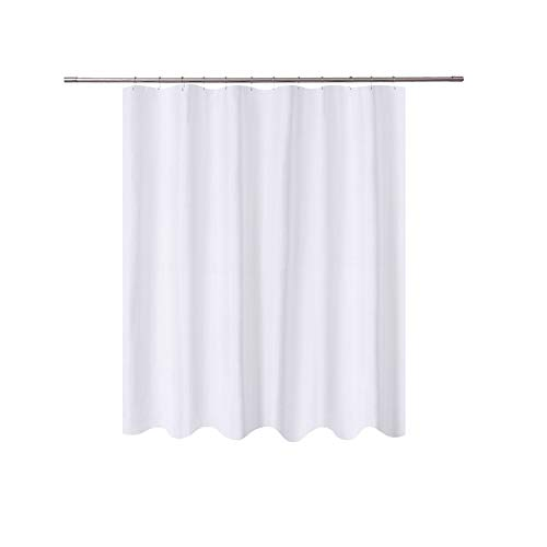 N&Y HOME Short Shower Curtain Liner Fabric - 72 x 65 Shorter Length, Hotel Quality, Mildew Resistant, Washable, Water Repellent, White Bathroom Curtains with Grommets