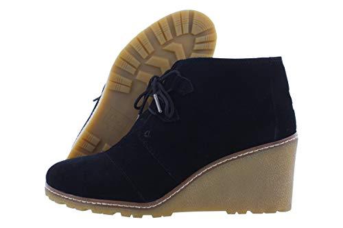 (TOMS Desert Wedge Boot - Women's Black Suede/Faux Crepe Wedge,)