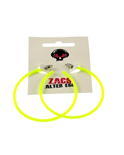 Zac's Alter Ego Women's Plastic Hoop Stud Earrings For Fancy Dress - 80S/ Pop/ Clubbers 6.5Cm Diameter Neon Yellow
