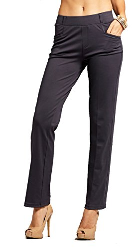 Conceited Women's Dress Pants - Slim and Bootcut - 7 Colors - by (Small, Bootcut Charcoal (Banded Slim Pants)