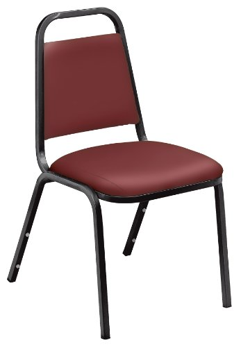 NPS 9108-B Vinyl-upholstered Standard Stack Chair, 300-lb Weight Capacity, 16'' Length x 15-3/4'' Width x 33'' Height, Burgundy by NPS