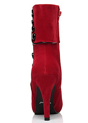 DADAWEN Womens Suede High Heel Side Zipper Ankle Booties Red 7eadt2WrHc