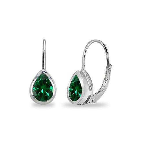 Sterling Silver Simulated Emerald 7x5mm Teardrop Bezel-Set Dainty Leverback Earrings for Women Teen Girls ()