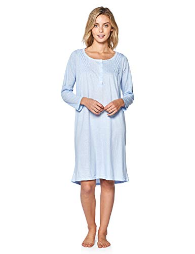 (Casual Nights Women's Stars Pintucked Long Sleeve Nightgown - Blue - Medium)