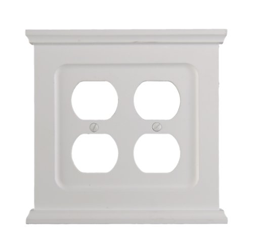 AmerTac SB178DDW Mantel Composite Wood Double Duplex Wallplate, White - Collection Quad Outlet Plate