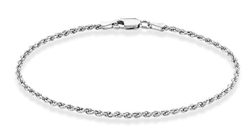 MiaBella Sterling Silver Italian 2mm Solid Diamond-Cut Braided Rope Chain Necklace Anklet Bracelet for Men Women 925 Italy 6.5, 7, 8, 9, 16, 18, 20, 22, 24, 26, 30 Inch (8)