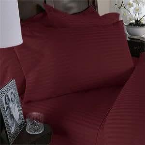 Egyptian Bedding 1500 Thread Count Egyptian Cotton 1500TC Pillow Case Set, California King, Burgundy Stripe 1500 TC