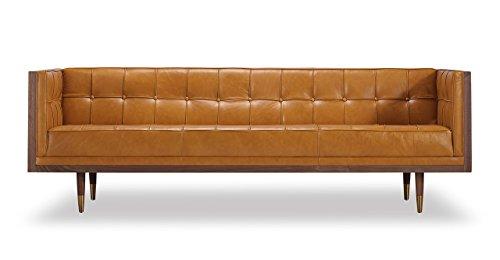 Kardiel Woodrow Midcentury Modern Box Sofa, Tan Aniline L...