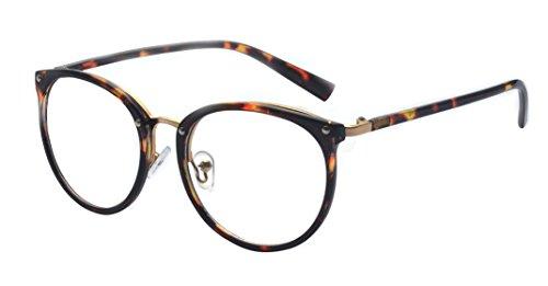 Kalens Classic Nerd Horned Rim Keyhole Metal Bridge Round Eyewear Glasses - Bridge Keyhole