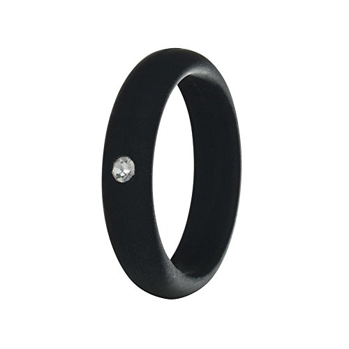 Simpleonly Women Silicone Wedding Band with Rhinestone Diamond, Black Thin Rubber Bands Narrow Elastic Non Metal for Mechanic Workout, Athlete Exercise, Sport Keep Fit ()