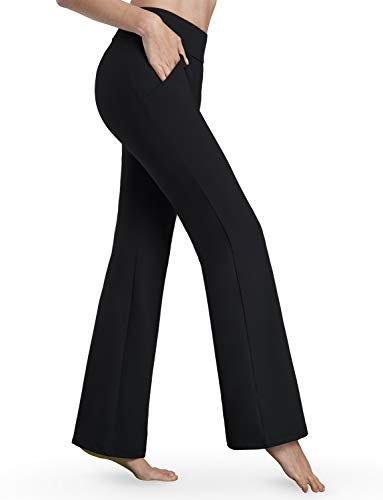 Bamans Womens Bootcut Yoga Pants with Pockets Tummy Control Workout Long Dress Bootleg Yoga Pants, Black XX-Large (Dresses For Women With Boots)