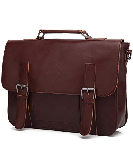 ZEBELLA Men Vintage PU Leather Briefcase 15 inch Laptop Shoulder Messenger Bag Tote images
