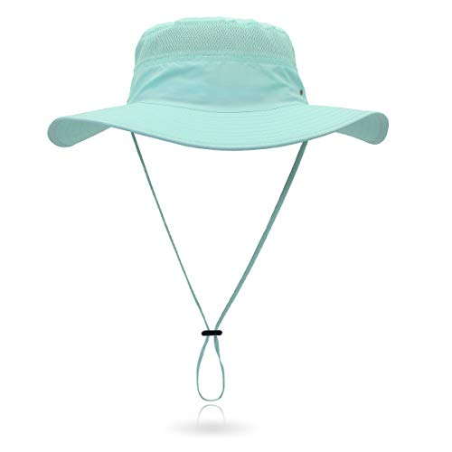 Jane Shine Outdoor Sun Hat Quick-Dry Breathable Mesh Hat Camping Cap Coral Blue]()